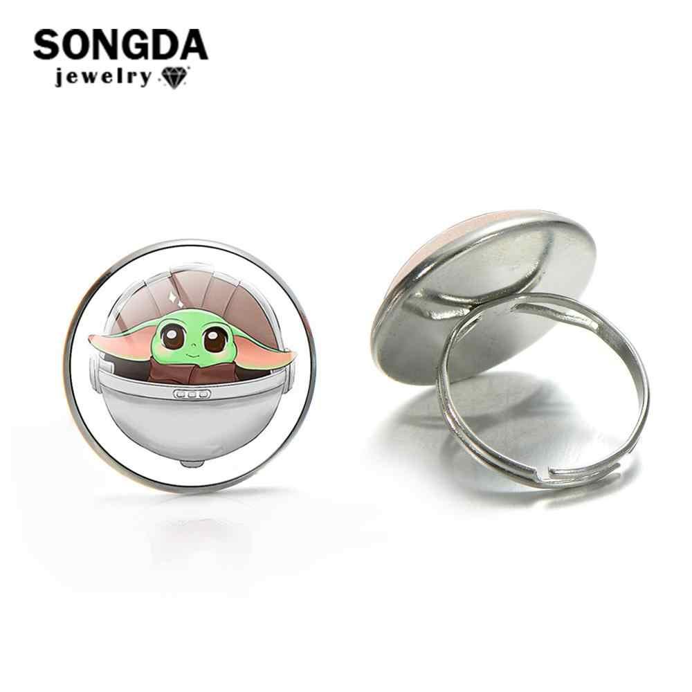 SONGDA ベビーヨーダオープンリング調整可能なサイズガラスアート写真時間宝石リング少年少女のためのを Mandalorian コレクション子供ジュエリー