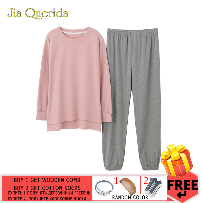 Minimalist Style Women's Sleepwear Loose Size Pink Top Grey Pants Women's Two Pieces Cotton Pjs Student Girls Home Clothing Suit