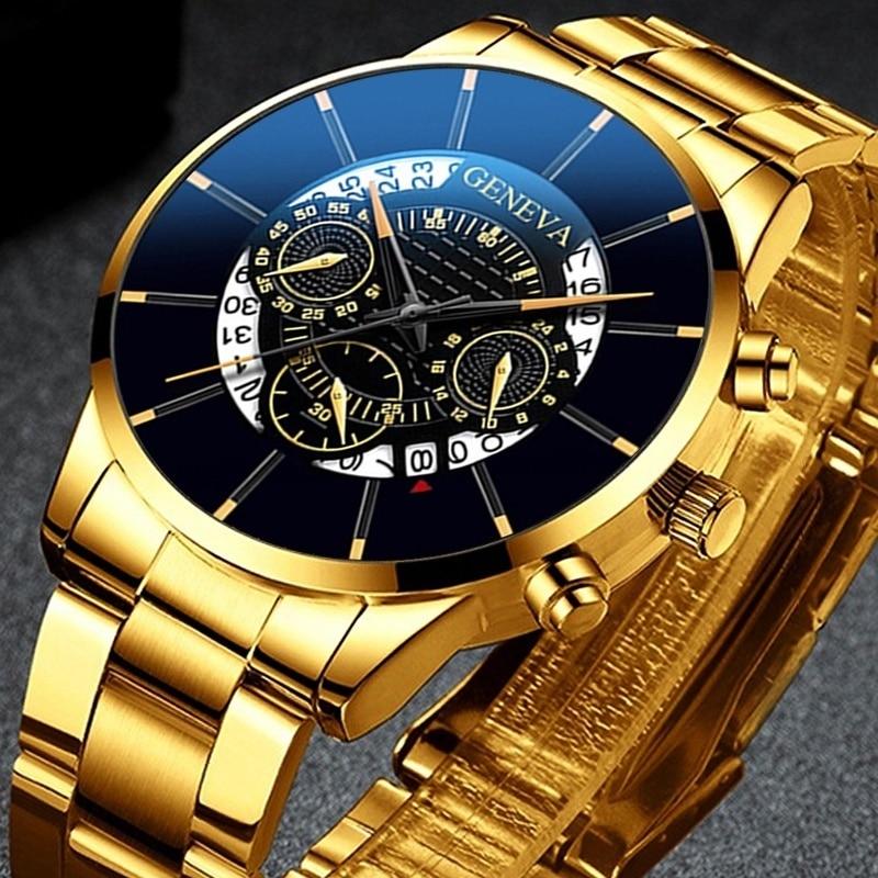 Reloj De Los Hombres Men Watch Quartz Classic Gold Wristwatch Steel Belt Luxury Calendar Business Watch Herren Uhren Men's Clock
