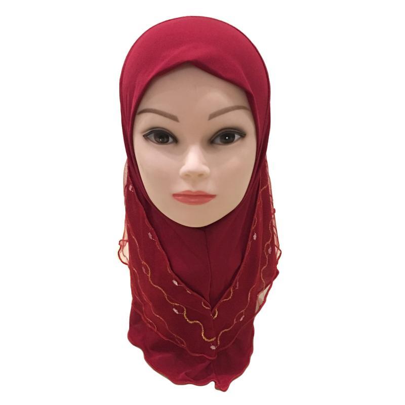 Image 2 - 2019 г. Мусульманский красивый хиджаб для девочек, исламский шарф  в арабском стиле, шали с цветочным узором, платок, Детские шали,  головные уборы, шапки AmiraМусульманская одежда