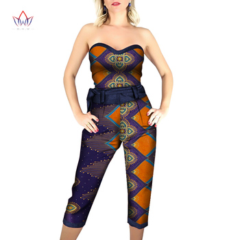 Summer African Print Jumpsuit Strapless African Women Jumpersuit With Print Sleeveless African Clothing Dashiki Pant None WY6431