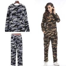 New 2020 Autumn Winter Two Piece Sets Women Slim Casual Long-sleeved Pants Hooded Sportswear Camouflage print Tracksuit Hoodies
