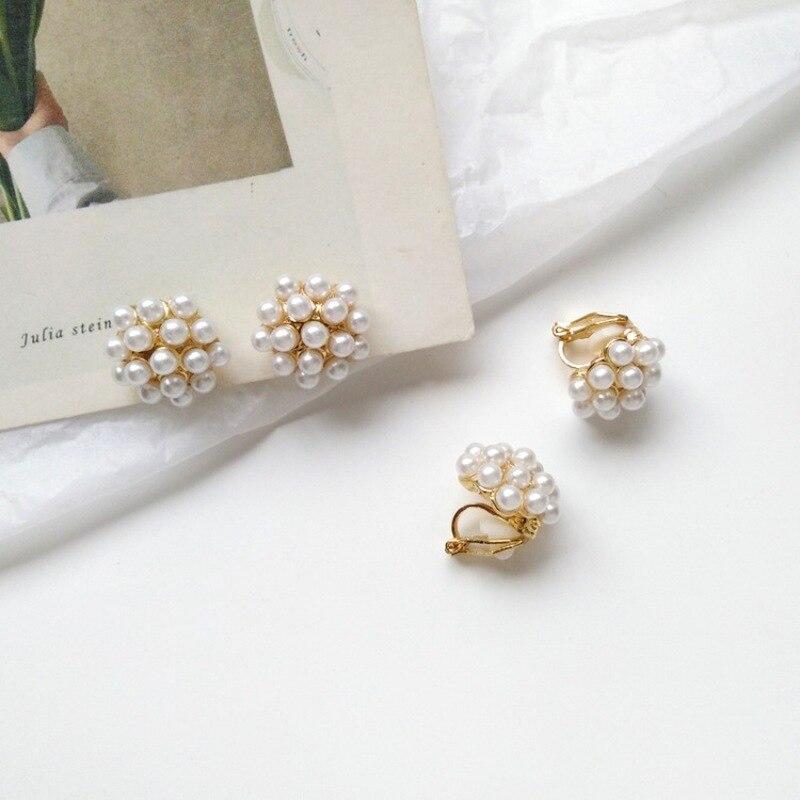 Корейские простые серьги гвоздики с имитацией жемчуга для женщин и девушек, модные красивые клипсы для ушей, ювелирные аксессуары|Серьги-гвоздики|   | АлиЭкспресс