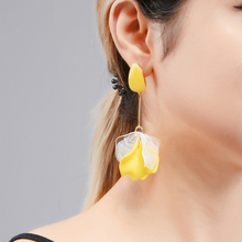 Wuli&baby Green Orange Yellow Flower Drop Earrings 2019 New Korean Style