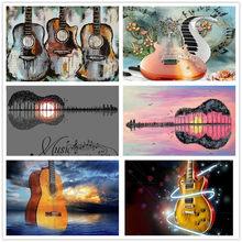 5Dダイヤモンド刺繍抽象ギタークロスステッチフル平方ドリルダイヤモンド塗装音楽アートモザイクキットセット家の装飾