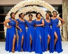 Плюс размер королевский синий невесты Платья Sheer o-образным вырезом кружева аппликация высокая сторона Сплит свадебные гость платье горничной честь платья