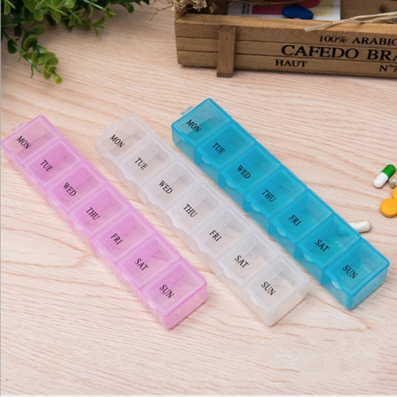 Portable 7 Day Pill Box Organizer Travel Pill Box Pill Storage Compartment Box Medicine Tablet Holder Pill Splitter