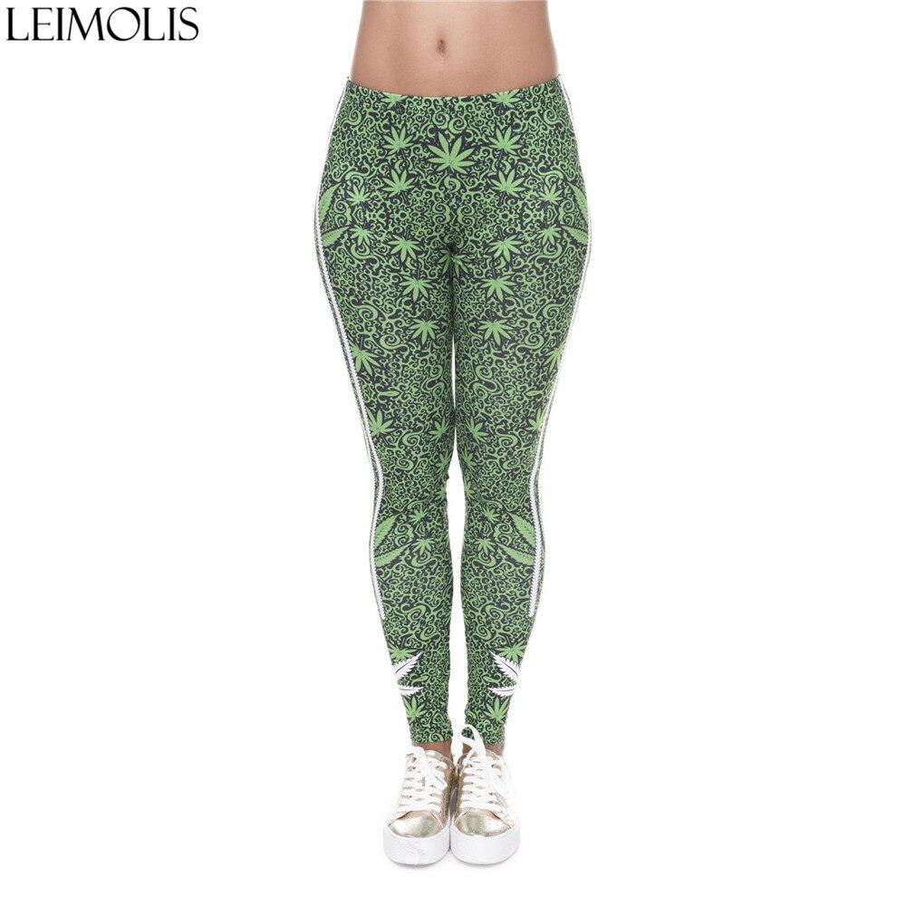 LEIMOLIS 3D Print Green Leaf Fitness Push Up Workout Leggings Women Harajuku High Waist Punk Rock Sexy Leggins