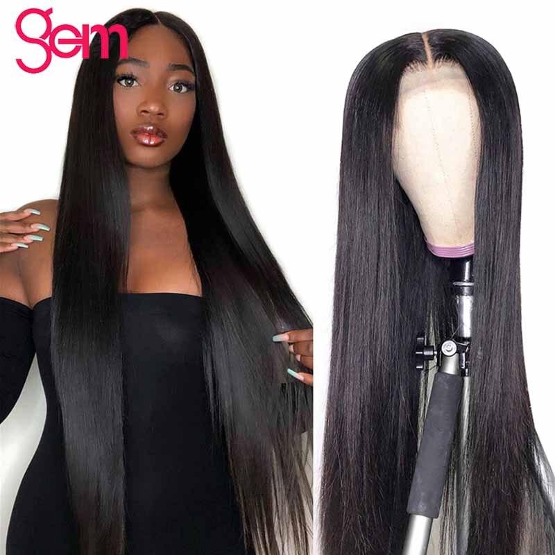 30 Polegada peruca de cabelo humano em linha reta para as mulheres negras longa pré arrancado 150 densidade gem cabelo brasileiro peruca 4x4 fechamento