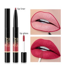 Pretty Comy Double-end Lip Gloss Lip Liner Long-lasting Waterproof Non-stick Matte Automatic Lip Liner Lip Glaze 6 Colors mac shiny pretty things lip set