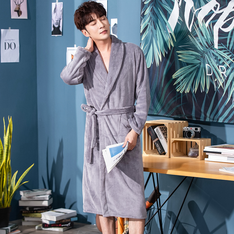 With Belt Flannel Kimono Bathrobe Gown For Men Gray Coral Fleece Sleepwear Winter Warm Home Dressing Gown Male Nightgown