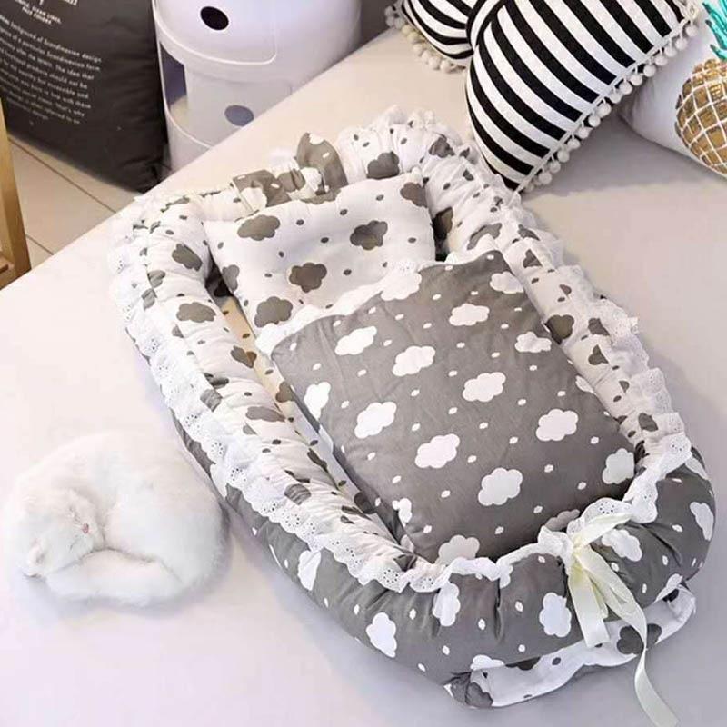Newborn Baby Portable Crib Baby Bed Safety Protection Crib 3pcs/set Quilt Newborn Printing Foldable Washable BXX025