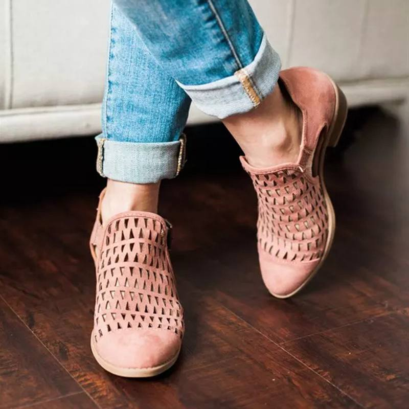 Summer Spring Shoes Woman Pumps Peep Toe Sandals Women Zip Chunky Square Heel Ankle Booties Womans Plus Size 43