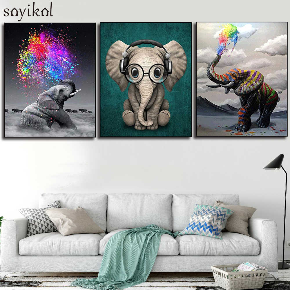DIY بها بنفسك الطلاء حسب عدد الفن الطلاء بواسطة أرقام الفيل الواقعية اليدوية مسلية غرفة المعيشة ديكور معلق الحيوان صور