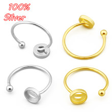 925 prata esterlina anel de ouro bases em branco caber 6mm cabochons cameo configurações bandeja diy jóias fazendo homem mulher anel acessórios