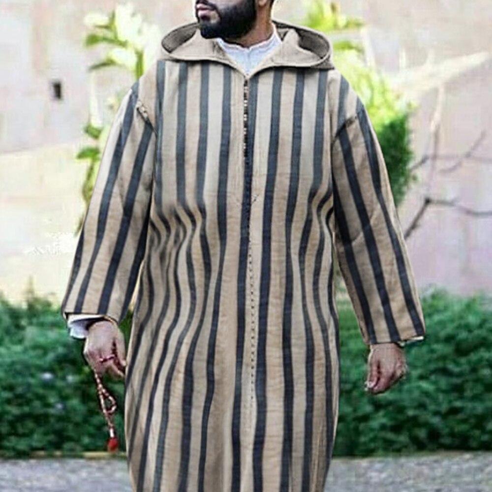 Kaftan Men's Clothing Stripe Hooded Ethnic Abaya Islam Muslim Dresses Long Fashion Print Djellaba Style Man Arabic Dress 2021 Men Men's Clothings Men's Kaftan