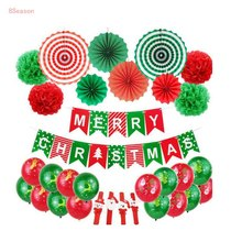 8SEASON Santa Claus Balloon Set Christmas Banner Merry Balloons Kits Xmas Party Decoration