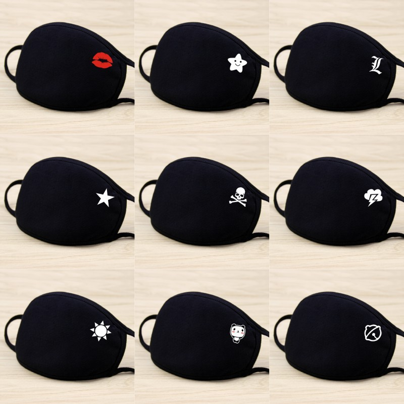 2020 Masks Men And Women New Cotton Fashion Cartoon Black Net Red Spring And Summer Riding Dustproof And Windproof Cotton