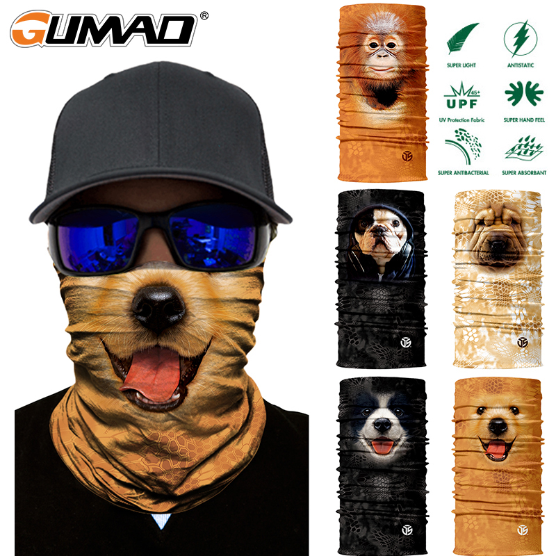 3D Cat Dog Seamless Magic Neck Gaiter Face Mask Shield Tube Balaclava Cycling Fishing Ski Biker Bandana Headband Scarf Men Women
