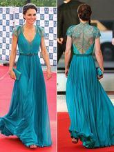 Длинные шифоновые голубые платья знаменитостей с Кружевами Платье