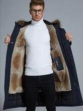 أوزة أسفل معطف الرجال انفصال الراكون الفراء طوق انفصال الأرنب الفراء بطانة أسفل سترة رجل ملابس خارجية الشتاء كولدبروف سميكة