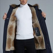 goose down coat men detachable raccoon fur collar detachable rabbit fu