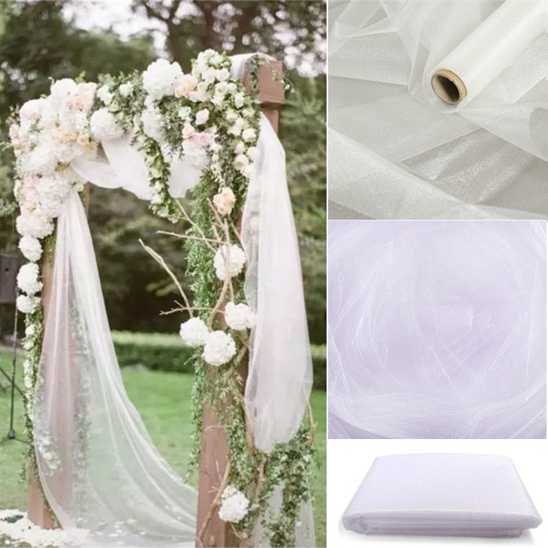 5m/10m 48cm Organza Knot Wedding Chairs Cover Sheer Crystal Organza Tulle Roll Fabric For Wedding Arch Party Decoration Organza