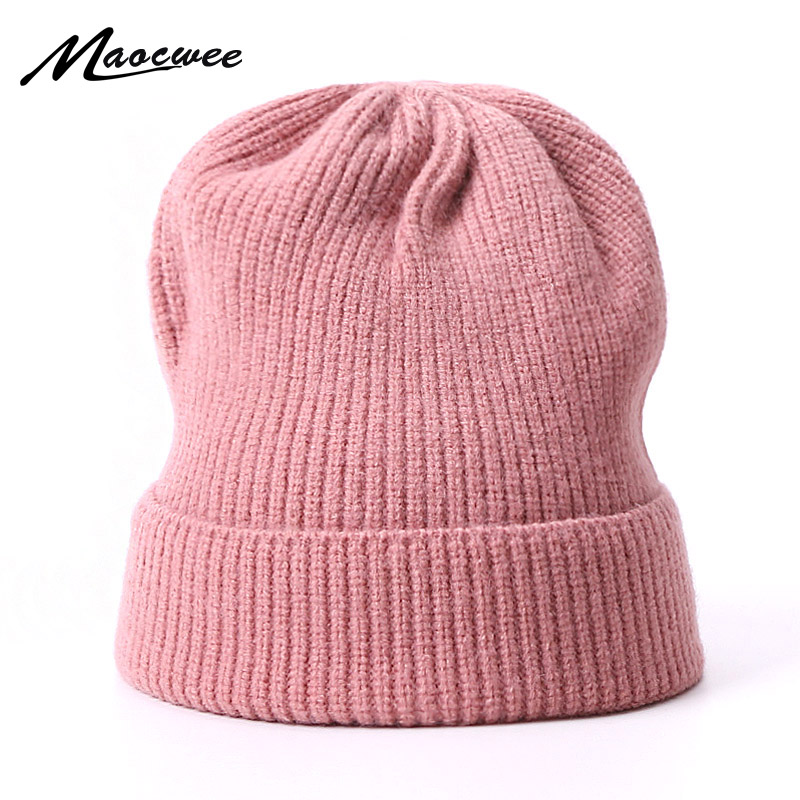 Winter Hats For Women   Beanie   Cap Solid Color Warm Hats Knitted   Skullies     Beanies   Man Thick Warm Caps Outdoor Bonnet Hats Ski Caps
