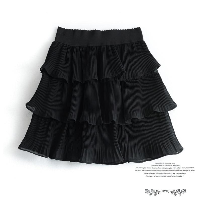 Summer Mini Skirts Women Girls Cute Sweet A Line Skirt Black White Chiffon Skirt Women Elastic Waist High Pleated Mini SkirtPant