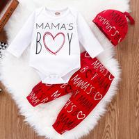 PatPat 2020 New Spring 3 piece set Baby Valentine Letter Print Bodysuit and Pants with Hat Set for Baby Boy Clothing