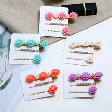 3pcs/set Cute Daisy Hair Clips For women Korea Wedding Rhinestone Hairpin Fashion Alloy Resin Stone Styling Accessories