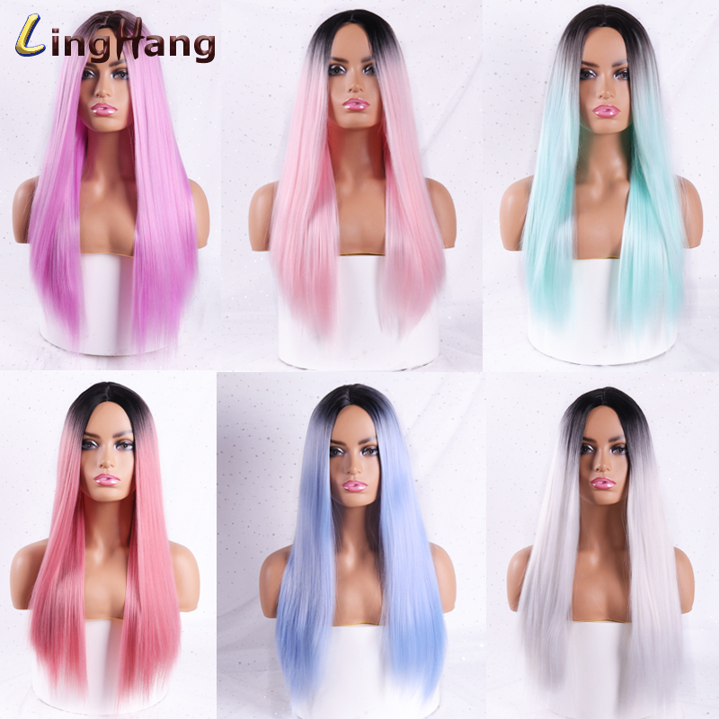 H839b5e38c20a4021941ec7ad5155ed5bJ - Linghang Ombre Blue Straight Long Synthetic Wigs For Women Black Pink Wigs 24 inch 11 Color can be Cosplay Wigs