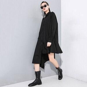 Image 5 - [EAM] Women Black Asymmetrical Pleated Long Blouse New Lapel Long Sleeve Loose Fit Shirt Fashion Tide Spring Autumn 2020 1N202