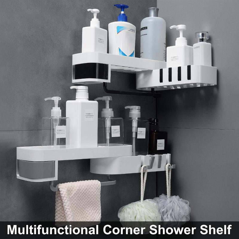 90/180 Degrees Corner Shower Holder Bathroom Shelf Wall Mounted Kitchen Storage Organizer Bathroom Storage Rack With 4 Hooks