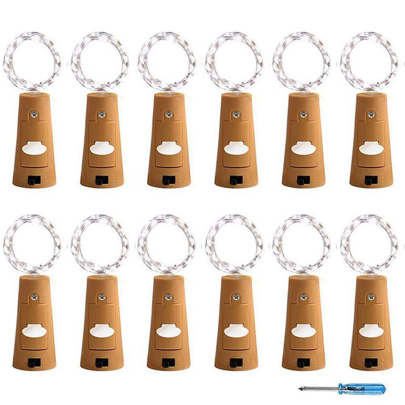 Cork Lights For Wine Bottle, Wine Bottle Lights 12 Pack 6.5ft 20 LED Wine Cork String Lights For Glass Mason Jar Fairy Lights Ba