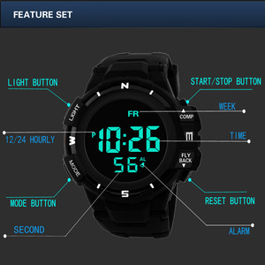 Image 4 - Mens Black Face Black Screen Multi function Student Sports Electronic Watch Led Waterproof Luminous Simple Trend Watch
