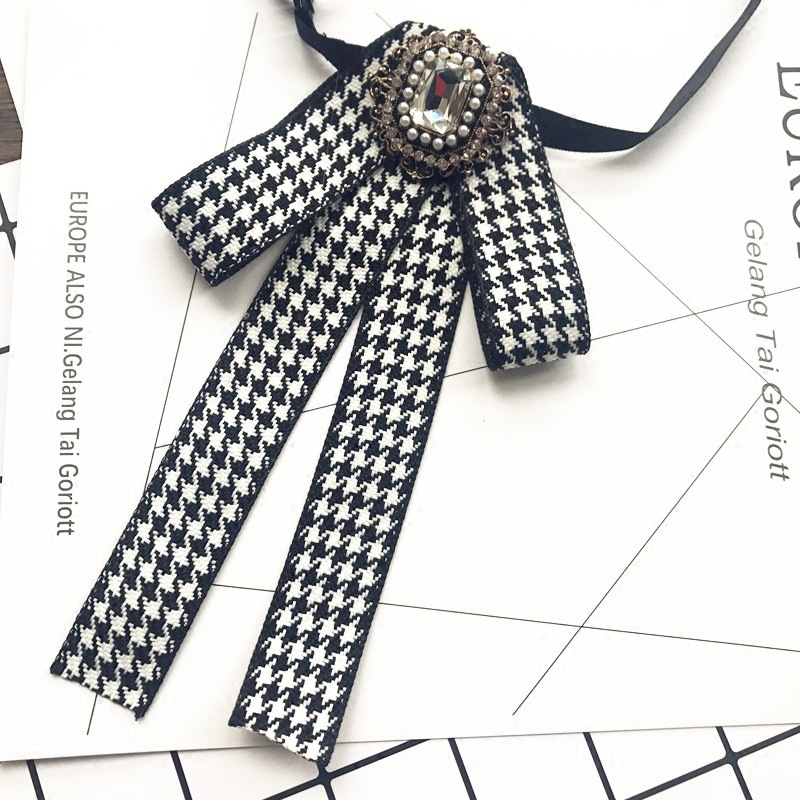 Korean Handmade British Retro Bowtie Professional Uniform Female White Black Houndstooth Lattice Bow Ties For Women Accessories