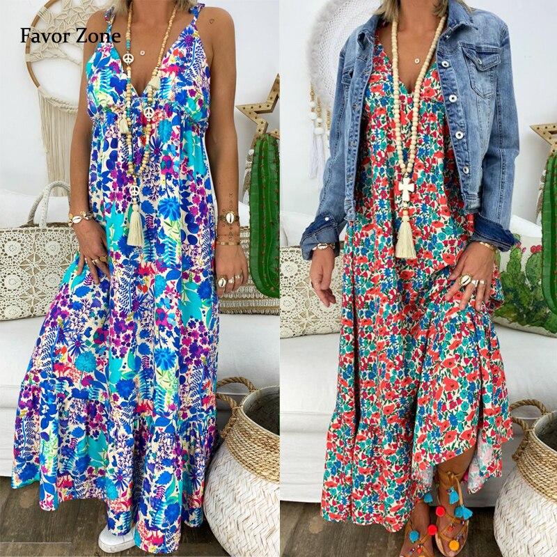 Женское длинное платье макси в стиле бохо, летнее винтажное пляжное платье до пола с V-образным вырезом, на бретелях-спагетти, сексуальное бо...