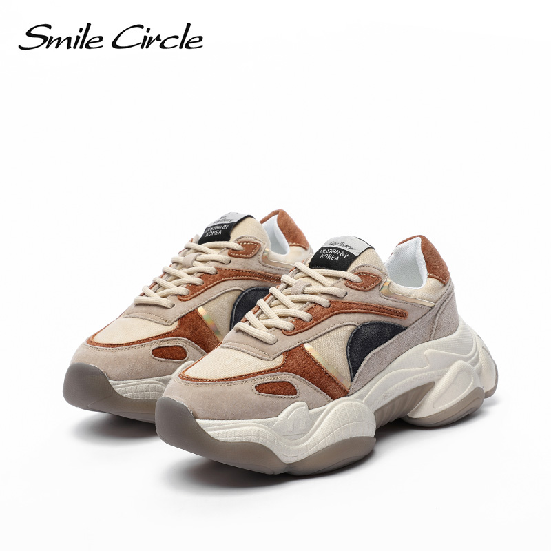Smile Circle Chunky Shoes Women Suede Sneaker Platform Shoes Fashion Casual Lace-up Breathable Ladies Sneaker Autumn