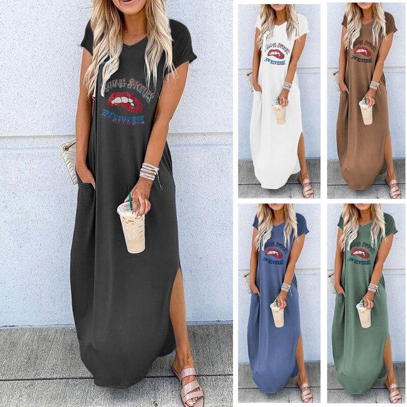 Europeu e americano-estilo roupas femininas venda quente em torno do pescoço mangas soltas ajuste meados de comprimento vestido 2020 primavera-verão novo