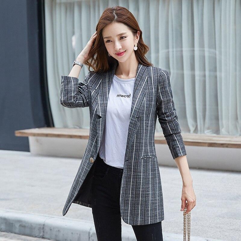 Женское пальто, осень 2019, новое, повседневное, модное, темпераментное, тонкое, в полоску, на одной пуговице, маленький костюм, женская рубашка