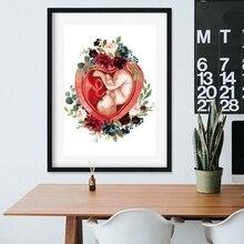 Беременность акварелью цветочный принт стены Искусство акушерка подарок гинеколог дула медицинский образовательный плакат Холст Картина Настенный декор
