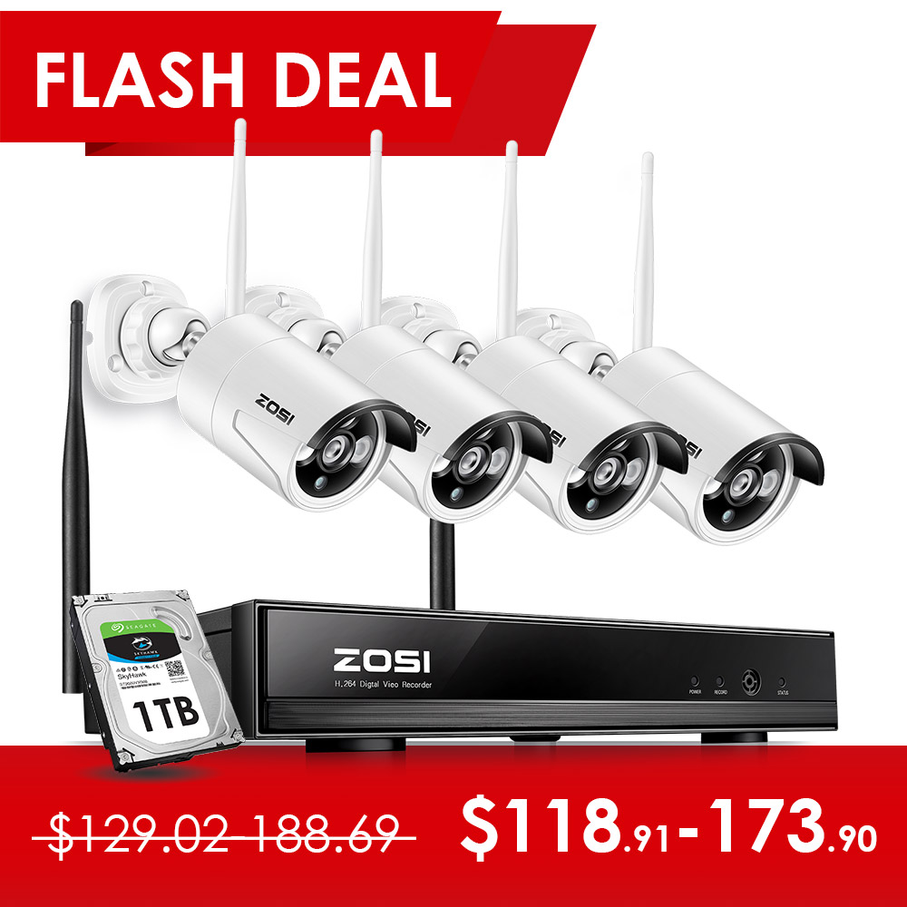 ZOSI 4CH 1080P HDMI WiFi NVR 4PCS 1.3MP IR Outdoor Weatherproof CCTV Wireless IP Camera Security Video Surveillance System Kit-in Surveillance System from Security & Protection    1