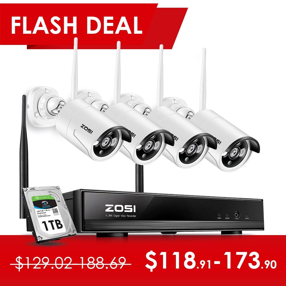 ZOSI 4PCS 1.3MP 4CH 1080P HDMI WiFi NVR CCTV IP Sem Fio À Prova de Intempéries do IR Ao Ar Livre Câmera de Segurança De Vigilância Por Vídeo sistema de Kit