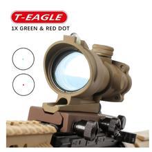 Hunting Riflescope ACOG 1X32 Real Fiber Optics Red Green Illuminated Chevron Glass Etched Reticle Tactical Optical Sight цена в Москве и Питере