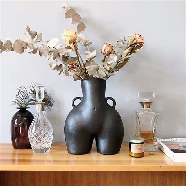 BAO GUANG TA Arts Girl Bust Vase Decor Interest Ass Statue Woman Model Vase Flower Pot Home Decoration Accessories Gift R5196 3