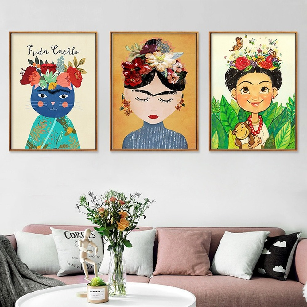 Color Cartoon Girl Portrait Decorative Painting Cute Cat Flower Butterfly Wall Canvas Poster Bedroom Hanging Pictures Home Decor
