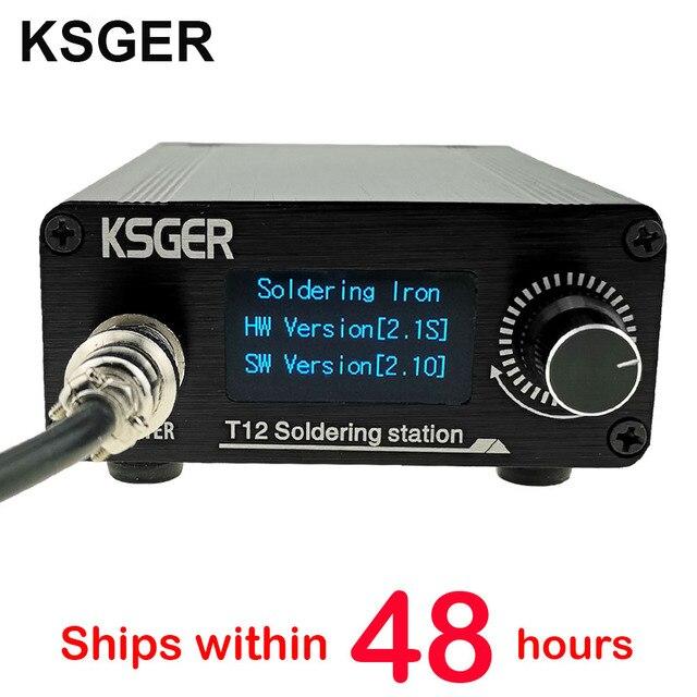 Ksger estação de solda, t12 stm32 v2.1s estação de solda de ferro de solda oled ferramentas de solda t12 caixa de liga de alumínio fx9501 cabo de calor rápido