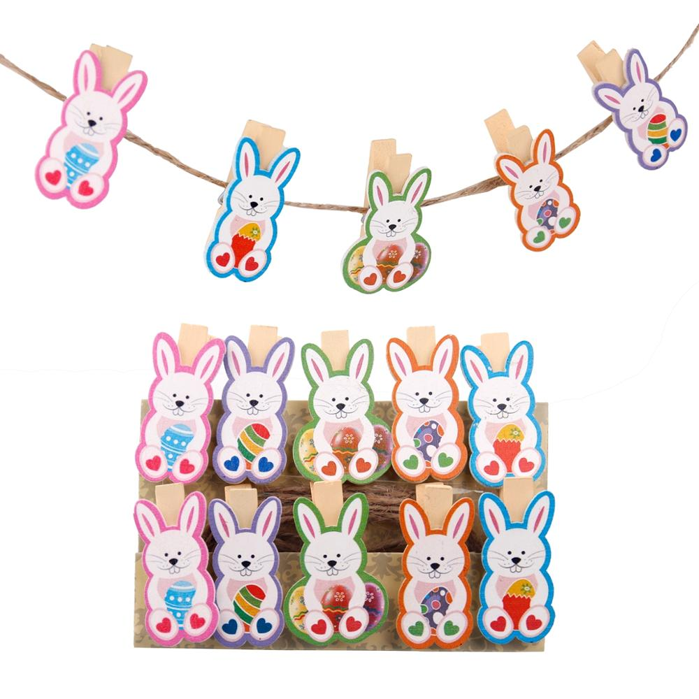 QIFU 10pcs DIY Easter Wooden Clips Cute Bunny Easter Rabbit Easter Decor For Home Handmade Birthday Party Supplies Baby Shower