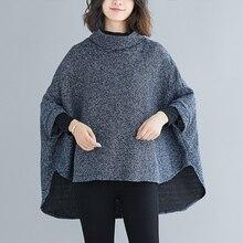 2019 Fashion New Female Loose Outwear Women jacket Bat Sleeve Coat Pullover Round Neck Winter Woollen